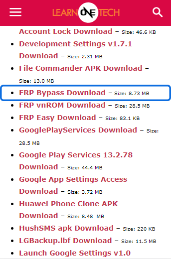 Download FRP Bypass Apk for frp bypass