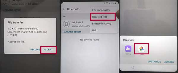 share a file to locked phone by bluetooth